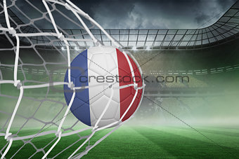 Football in france colours at back of net