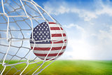 Football in america colours at back of net