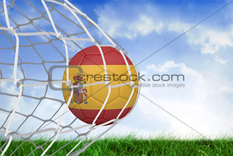 Football in spain colours at back of net