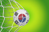 Football in south korea colours  at back of net
