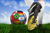 Close up of football boots at back of net
