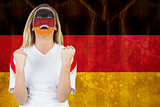 Excited german fan in face paint cheering