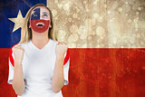 Excited chile fan in face paint cheering