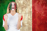 Excited italy fan in face paint cheering