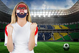 Excited croatia fan in face paint cheering