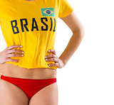 Fit girl in bikini and brasil tshirt