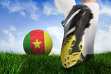 Close up of football boot kicking cameroon ball
