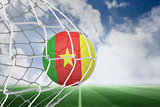 Football in cameroon colours at back of net
