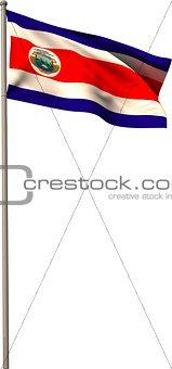 Costa rica national flag on flagpole