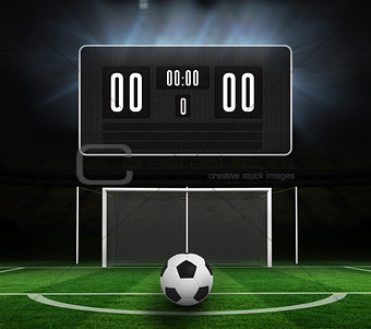 Black scoreboard with no score and football