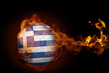 Fire surrounding greece ball