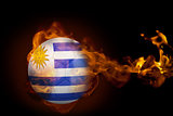 Fire surrounding uruguay ball