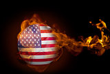 Fire surrounding usa ball