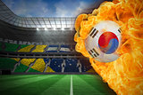Fire surrounding korea republic flag football