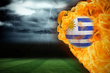 Fire surrounding uruguay flag football