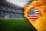 Fire surrounding usa flag football