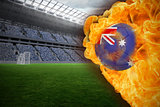 Fire surrounding australia flag football