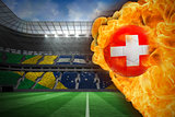 Fire surrounding switzerland flag football
