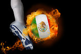 Football player kicking flaming mexico ball