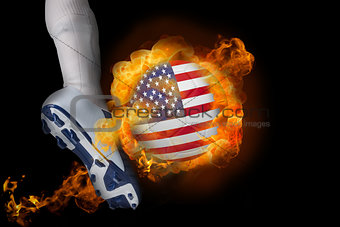 Football player kicking flaming usa ball