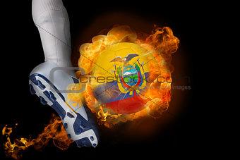 Football player kicking flaming ecuador ball