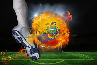 Football player kicking flaming ecuador flag ball