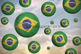 Footballs in brasil flag colours