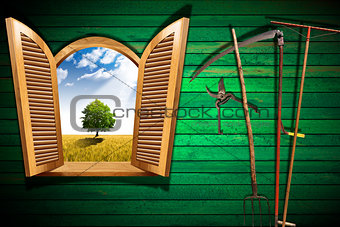 Agriculture Concept with Open Window