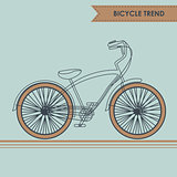 Bicycle with brown wheels. Sketch on blue