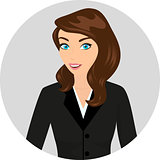 Business lady wearing brown hair close-up illustration.