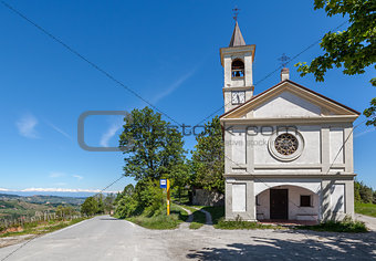 Chapel on the roadside in Piedmont, Italy.