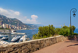 Sidewalk and view on Monte Carlo, Monaco.