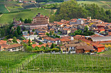 Town of Barolo and green vineyards of Piedmont.