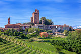 Small town and green vineyards in Piedmont, Italy.