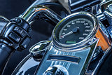 Motorcycle speedometer and handlebar.