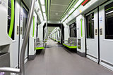 Metrovalencia subway car interior view.