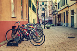 Bicycles in a row on the street of Ventimiglia.