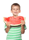 Boy holding a watermelon