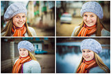 The Girl In A White Beret. Set Collage