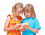 Two Children Having Fun with Digital Tablet