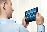 Man Holding Digital Tablet. News concept