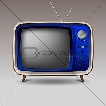 Old blue retro television