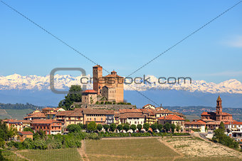 Small town with old castle on the hill in Piedmont, Italy.