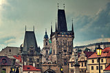 Medieval towers on Charles Bridge in Prague.