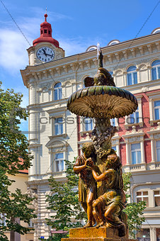 Sculptural fountain in Prague.