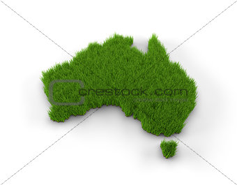 Australia map made of grass