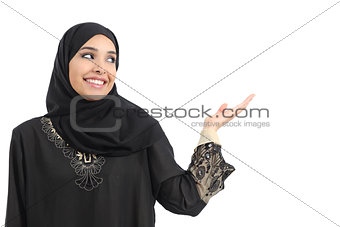 Arab saudi emirates woman promoter presenting looking at side