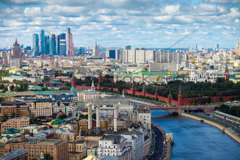 Aerial Moscow city center heart panorama