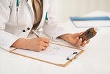 Closeup on medical doctor woman writing prescription