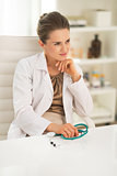 Portrait of thoughtful medical doctor woman in office